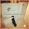 Venta caliente personalizada caja de papel impresa cartulina blanca extensión del pelo de embalaje para la extensión del pelo co