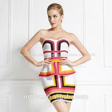 2015 nuevo estilo colorido vestido de fiesta sexy strapless vestido de bola vestido de gala