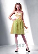 2014 pequeño amor amarillo y verde mini corto de fiesta apliques/vestido de fiesta