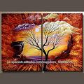 de alta calidad de grupo de árbol abstracto pintura al óleo