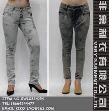 más caliente de lavado con ácido mujeres skinny jeans directamente de fábrica