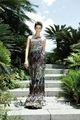 colorido scalloped sereia cetim vestido de lantejoulas