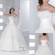 Design francês bola vestido de casamento vestido/vestido bordado com flores e tecidos de malha de alta qualidade