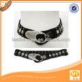 mulheres de couro imitação de estiramento elástico gancho de prata metal cintura cadeia cinto largo