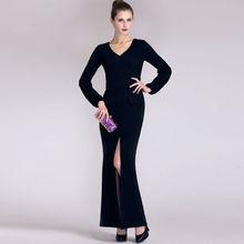 YIGELILA Vestido de noche de moda negro con cuello en v manga larga 6255
