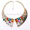 atacado popular transparente cores multi pedra colar de ouro jóia da peça