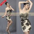 AO50597 off- hombro con apliques de corta sexy abierto baja de la espalda vestido de cóctel negroimágenes patrones