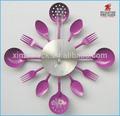 Cocina del reloj de pared de acero inoxidable reloj de arte de color púrpura( cuchillo cuchara y tenedor forma) reloj de pared