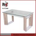 nuevo diseño de base de madera de ancho de mesa de cristal