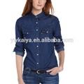 2014 slim fit modelo para las señoras blusas de manga larga camisa superior