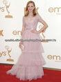 2013 Jayma Mays Emmys de encaje de manga corta de tul rosa apliques en niveles larga alfombra roja BO1820 vestido de noche