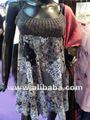 Vestido corto de gasa de algodón impreso& hecho a mano crochet cordones