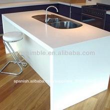 hoja de piedra artificial para homehold encimera de piedra de color blanco y encimera de corian