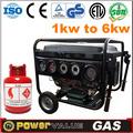 de energía eléctrica de espera china 2kw 2 naturaleza kva generador de gas para la venta con kit de neumáticos