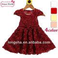 balón vestido de niña vestidos de rojo 2014 larga de moda de verano casual niños vestido vestido de flores de la decoración