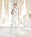 Sin gastos de envío!!! Cy973 nuevo modelo una línea de gasa con cuentas tribunal tren una manga de vestidos de novia 2014