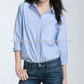 senhoras do algodão de oxford azul camisa de trabalho camisa unisex