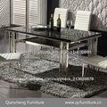 Muebles para el hogar moderno marco de acero inoxidable mesa de comedor d19# diseños