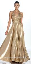 oro tafetán sin respaldo Una línea de vestido corto vestido de noche