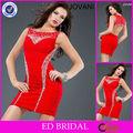 Sexy cortado vestido de coctel corto de color rojo con cuentas de nuevo