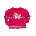 Diseños Crocheted del suéter del cuello del algodón para las muchachas del bebé