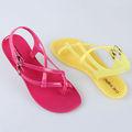 Jalea de moda damas sandalias de tiras de bohemia flip- chanclas sandalias de plástico de colores zapatos de pvc