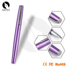 Jiangxin promocionais caneta roller com tampa, preto brilhante metal caneta