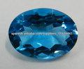Comercio al por mayor de topacio azul 18 * 25mm facetas Oval, piedra preciosa rara para la joyería de plata