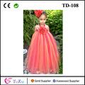 Flor menina vestido tutu, vermelho laranja&, sedutor outono vestidos longos estilo