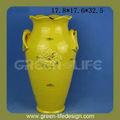 amarillo antiguo florero de cerámica
