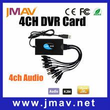 De alta definición h. 264 cctv 4ch usb dvr de vídeo tarjeta de captura de audio p2p plug and play