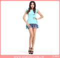 2013 el último diseño italiano flouncing diseño elegante azul de moda blusa de color