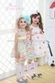 algodón del vestido de los niños de cintura alta decoración de flores 3D rosa ropa coreano para las niñas