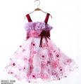 2014 nueva moda del bordado bebé flor vestido de las niñas jk-9002-1