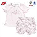 baby girl boutique conjuntos de ropa de color rosa con camisetas de algodón camisa y pantalones cortos de flores