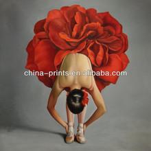 Pintura reciente Ballet Bueautiful óleo de la muchacha para la decoración en precio de descuento