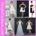 Sexy novia corto vestido de novia blanco y púrpura