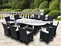 elegante de vidrio rota superior de mesas y sillas