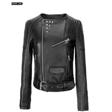 punk cinturón de montar el motor lateral con cremallera negro piel lavada de la moda otoño invierno chaqueta para las mujeres