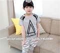 2014 caliente la venta de niños clásico negro grid/gris de algodón ropa de chico de moda al por mayor de ropa de niños conjunto
