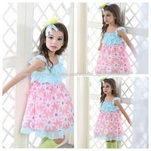 2014 verão nova grils vestidos de tecido de seda de poliéster teceu fabricante flor vestido china