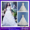 foto real inchado branco bola vestido laço de organza organza plissado saia vestido de casamento( ab0948)