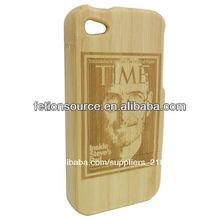 Puestos de trabajo steve retrato de madera caja del teléfono, caso del teléfono celular para el iphone 4/4s