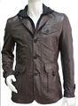 2013 chaqueta de cuero para hombre del disenador con capucha de piel