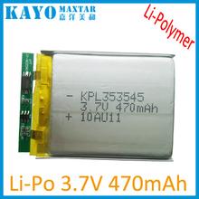 UL 3.7V 470mAh polímero de la batería de iones de litio