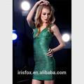 impreso verde de cuello en v de alibaba de vestir de moda