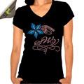 Pretty lírio de água algodão mulher verão strass t- shirt