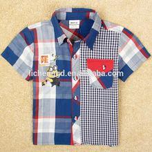 manga corta plaid camisa t despreciable de dibujos animados de impresión me tejido de verano los niños ropa camisa de polo