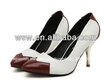 El último 2014 precio barato nuevo diseño caliente venta de la mejor calidad sexy blanco/amarillo del zapato