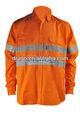 100% de algodón hi-vis naranja retardante de llama de abrigo para firefighers
